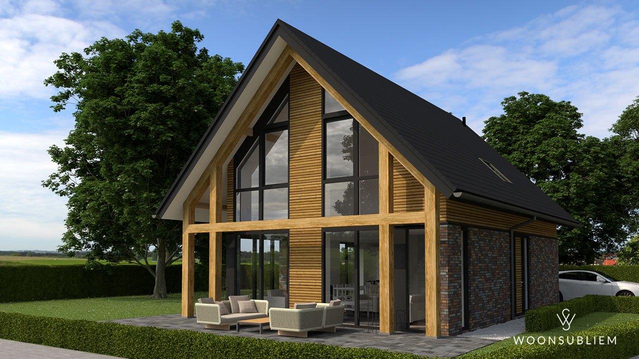 schuurwoning houten constructie terras dag
