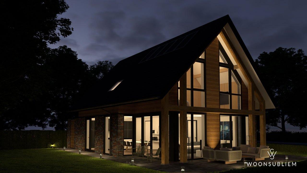 schuurwoning houten constructie terras avond