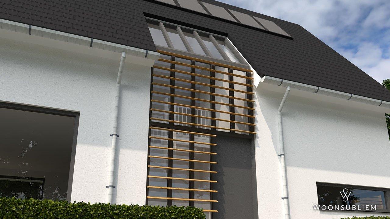 Woning in Wadenoijen voorzijde lamellen detail
