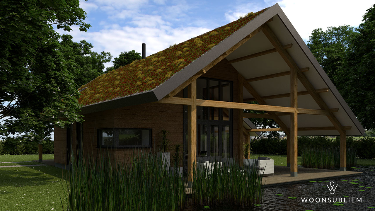 schuurwoning met sedum dak en zwemvijver tuin
