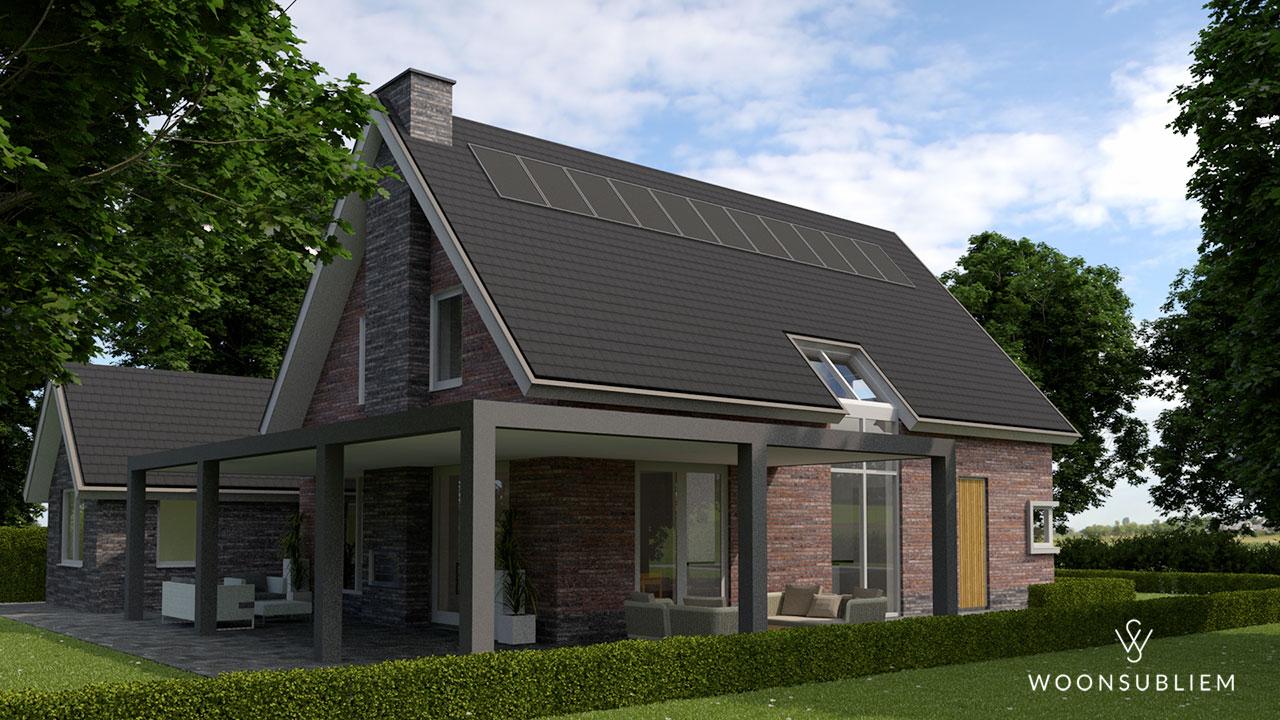 villa met rieten dak garage