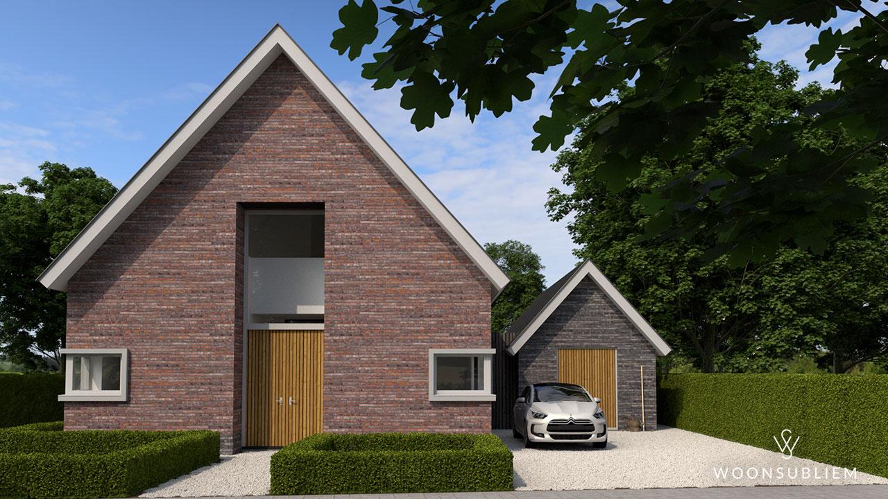 villa met rieten dak glas serre aanzicht vanuit tuin