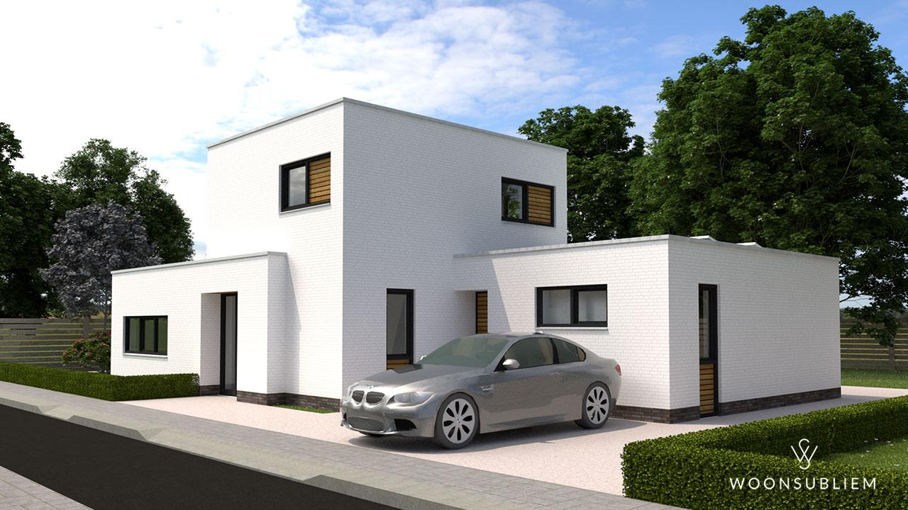 kubistische villa wit met houten accenten