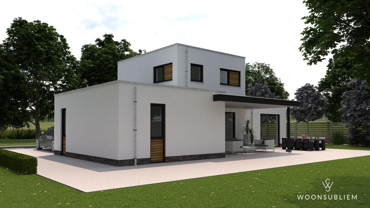 kubistische villa met overdekt terras tuinzijde