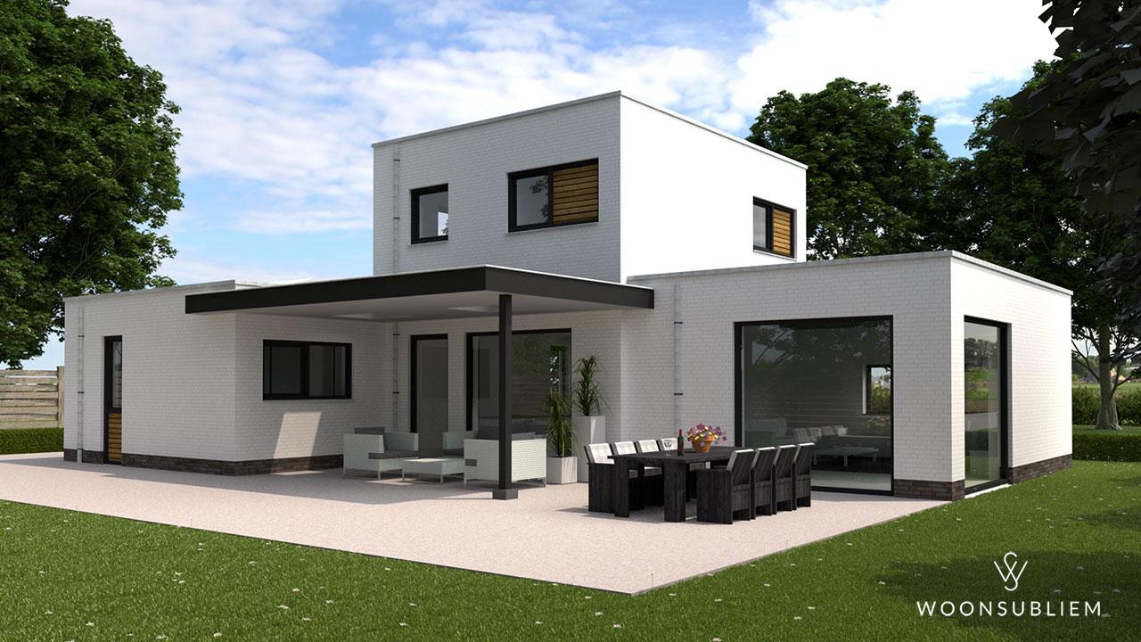 kubistische villa zwart wit met overdekt terras