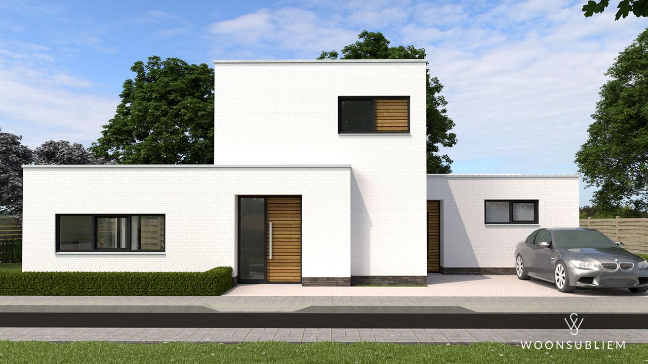 kubistische villa vooraanzicht