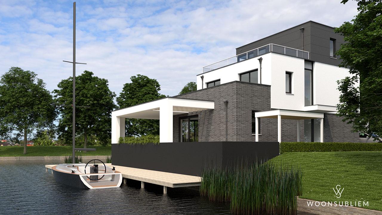 moderne villa grijs met wit kubus veranda aanlegsteiger