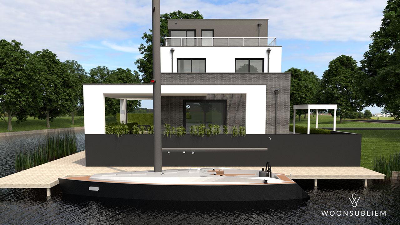 moderne villa kubus veranda aanlegsteiger