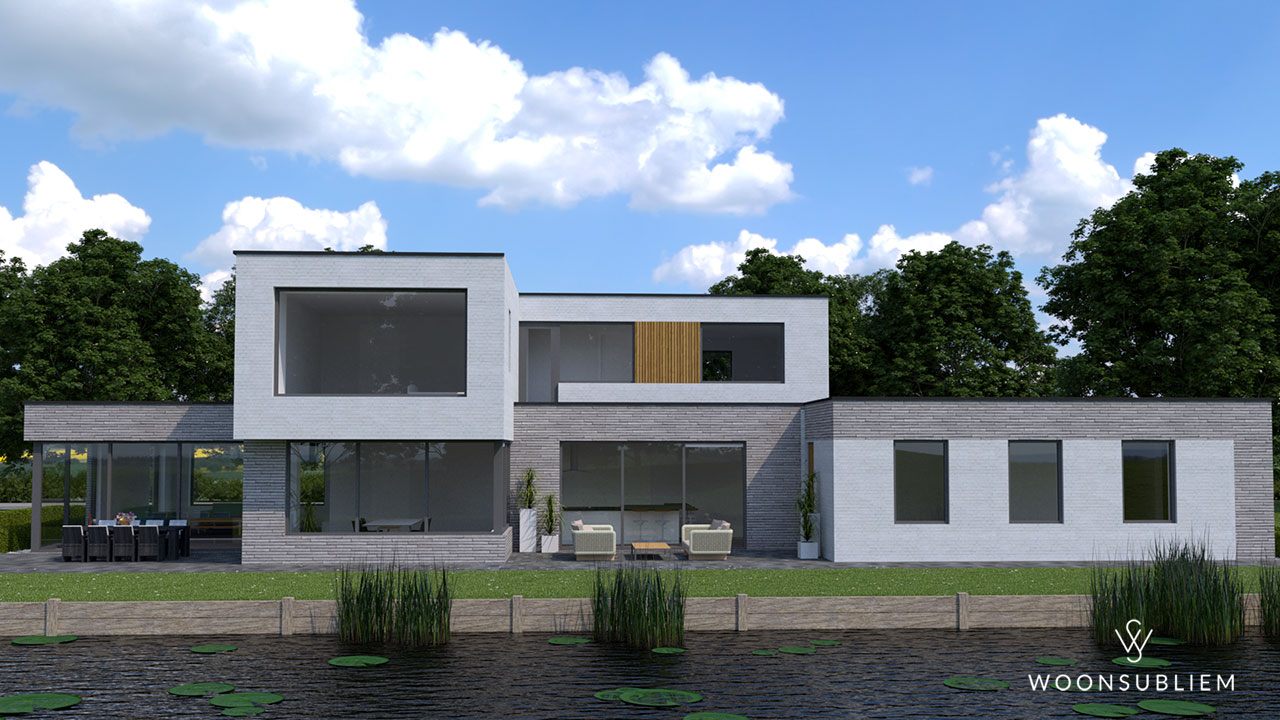 kubistische villa in Sneek achteraanzicht
