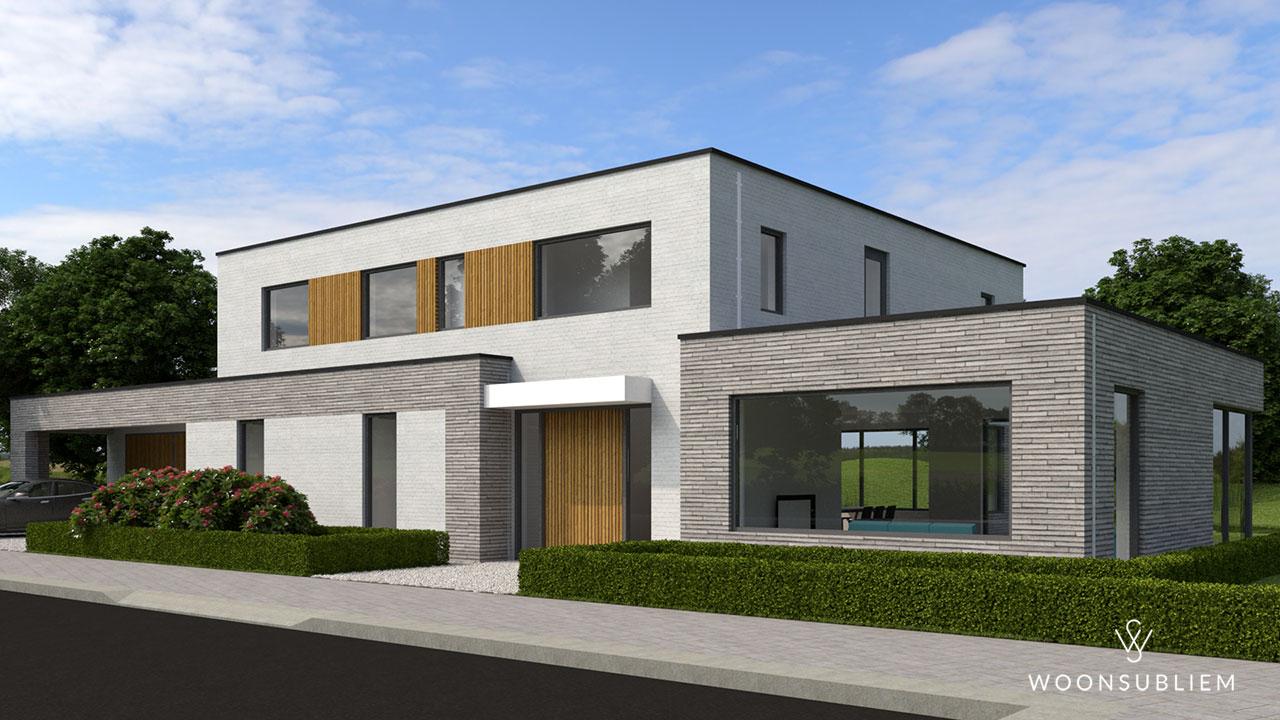 kubistische villa in Sneek waterkant