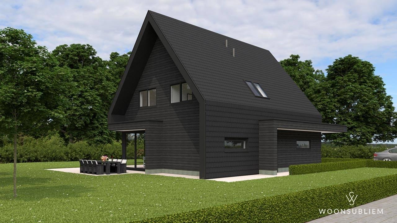 modern woningontwerp zwart overstek