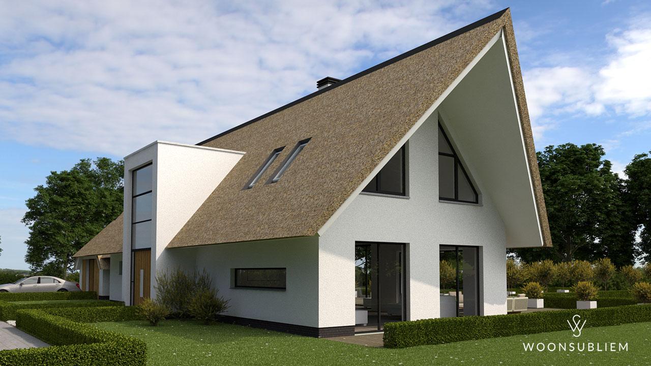 rieten-dak-villa-hoogland-risaliet-voorgevel