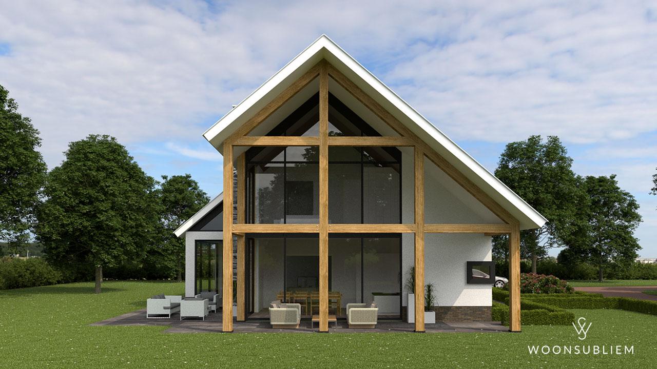 grote schuurwoning aanzicht houten constructie