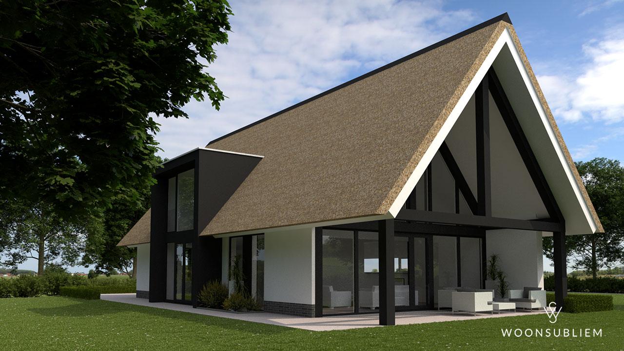 schuurwoning-risaliet-wit-stucwerk-rieten-kap-achterzijde-houten-gebint