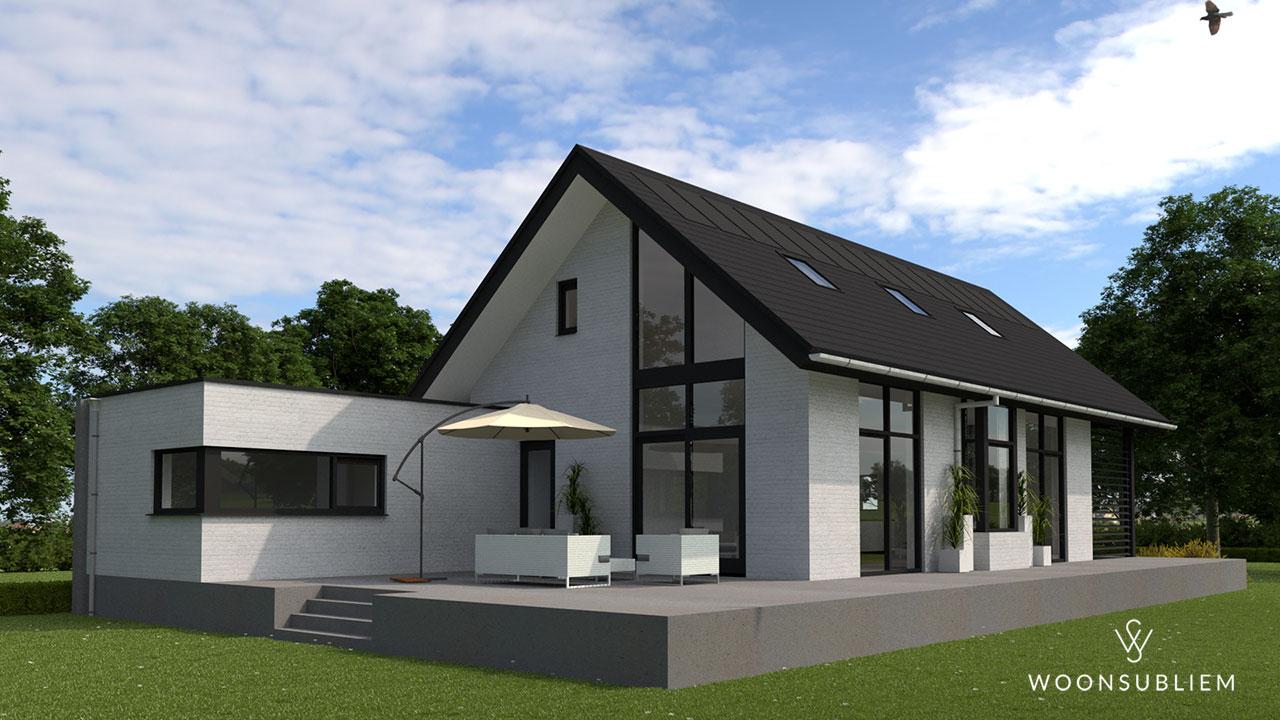 moderne schuurwoning zwart en grijs bel etage