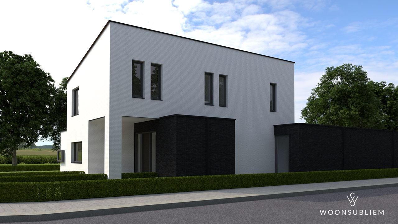 moderne villa wit stucwerk donkere aanbouw