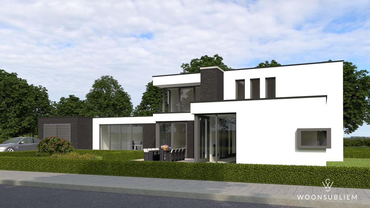 moderne villa met wit stucwerk