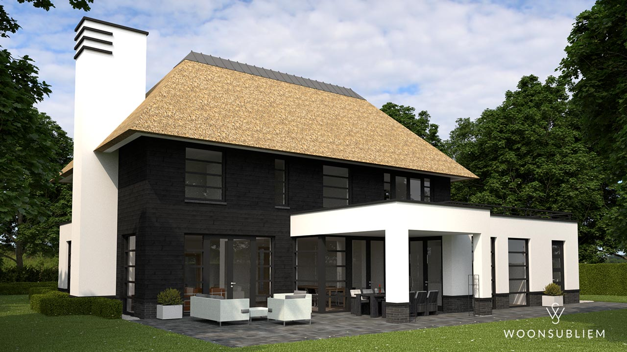 Villa met veranda rieten kap