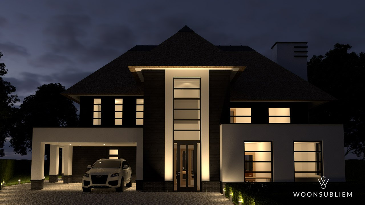 Villa zwart wit rieten kap