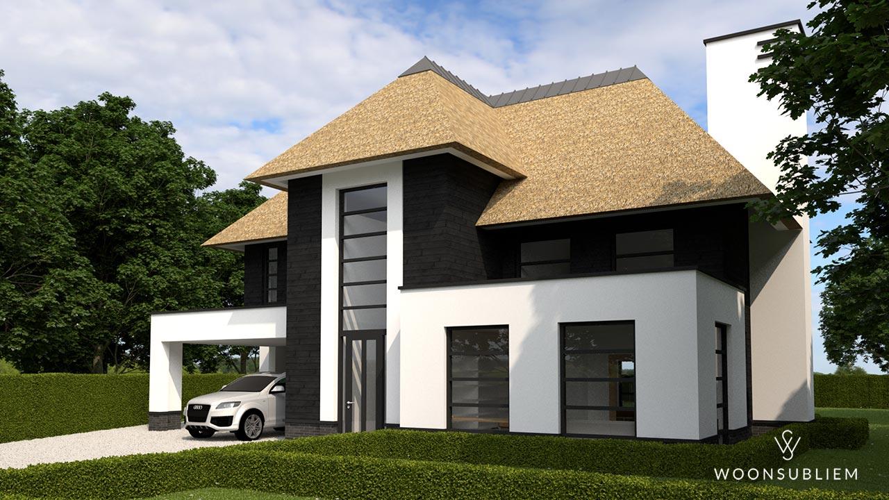 Villa met rieten kap risaliet